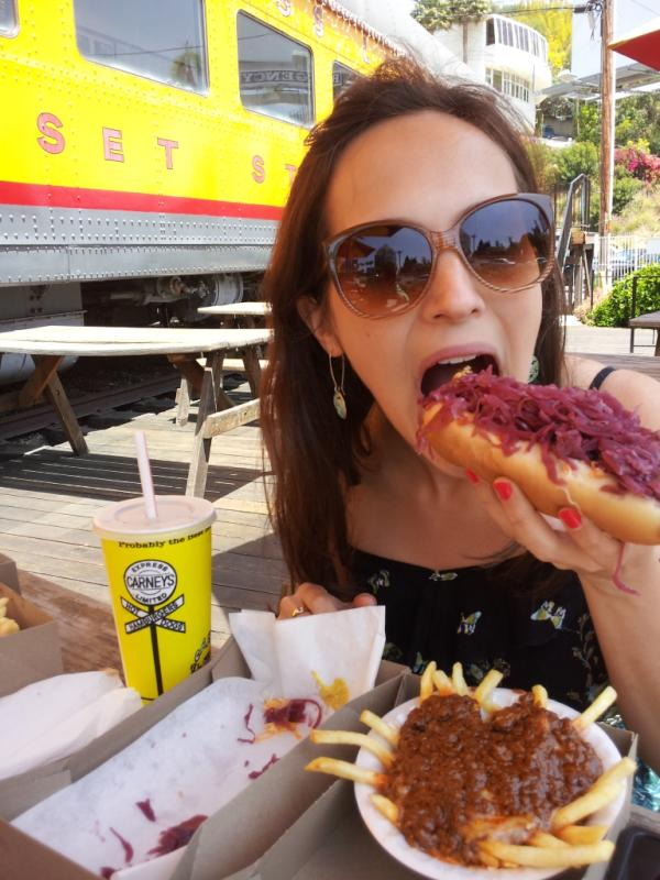 Eating the best hot dog in los angeles