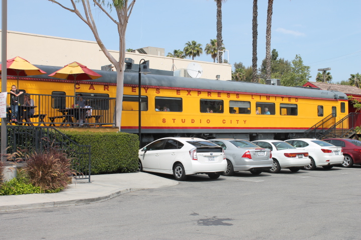 Yellow pacific passenger train at Carneys