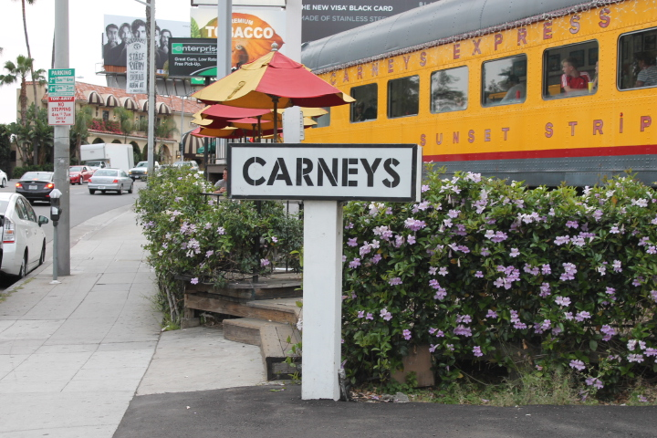 Carney Train 1924 yellow passenger train on sunset strip