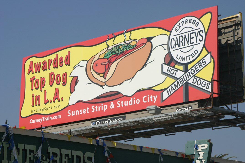 outdoor billboard clear channel for best hot dog in la