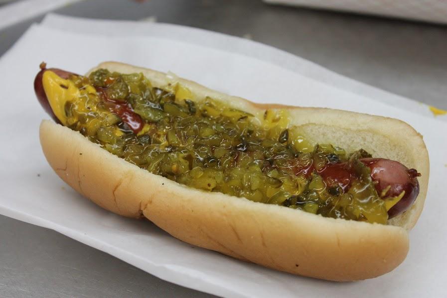 Mustard and relish hot dog