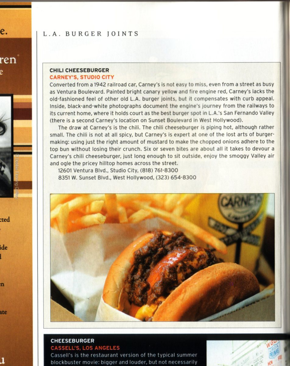 Chili cheeseburger news article about Carney's Carney Train