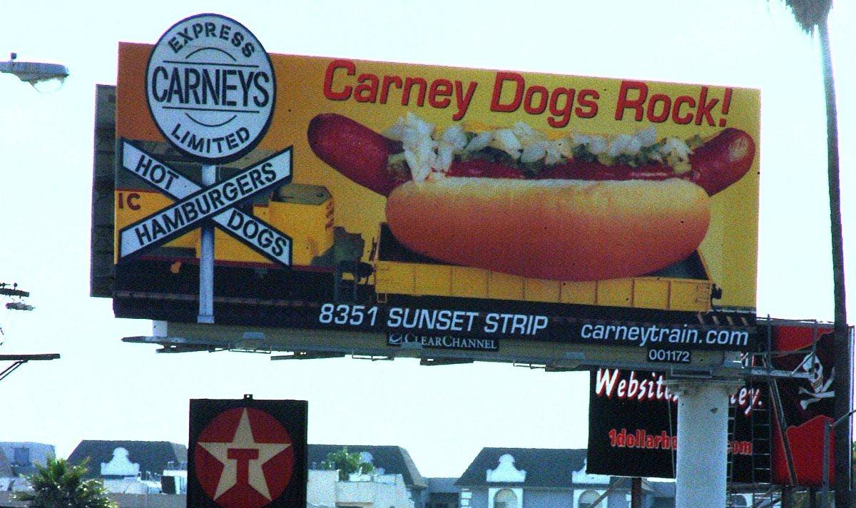 Carney train best hot dog billboard in la
